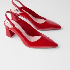 Zara NWT wide heel slingbacks